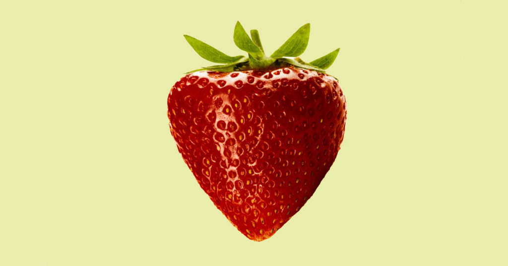 strawberry on a yellow background